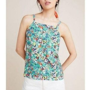 Maeve Anthropologie   Floral Square Neck Tank Top